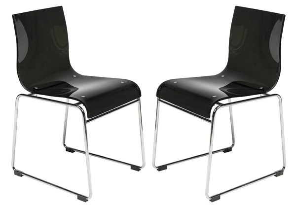 Design Edge Forbes 2  Transparent Black Acrylic Chairs DE-22369476