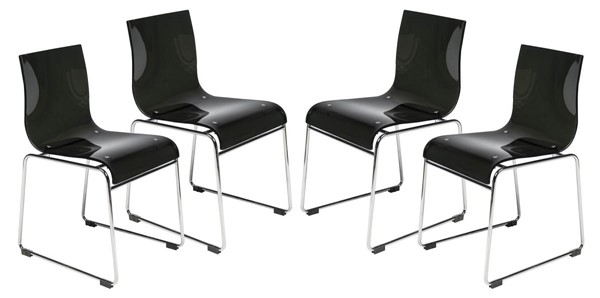 Design Edge Forbes 4  Transparent Black Acrylic Chairs DE-22820096