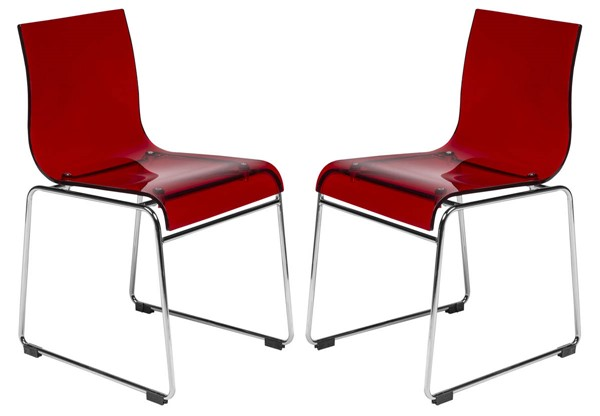Design Edge Forbes 2  Transparent Red Acrylic Chairs DE-22369466