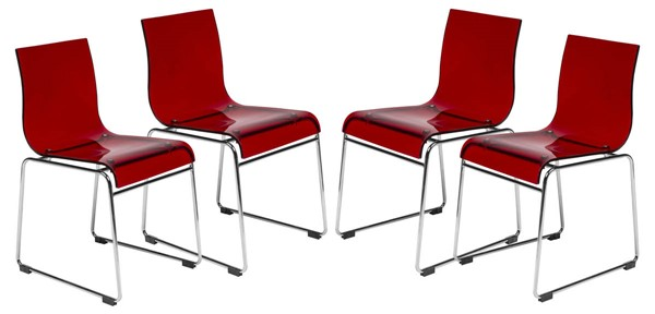 4 LeisureMod Lima Transparent Red Acrylic Chairs LSM-LC19TR4