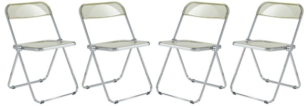 4 LeisureMod Lawrence Amber Folding Chairs With Metal Frame LSM-LF19A4