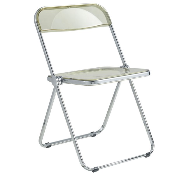 LeisureMod Lawrence Amber Folding Chair With Metal Frame LSM-LF19A