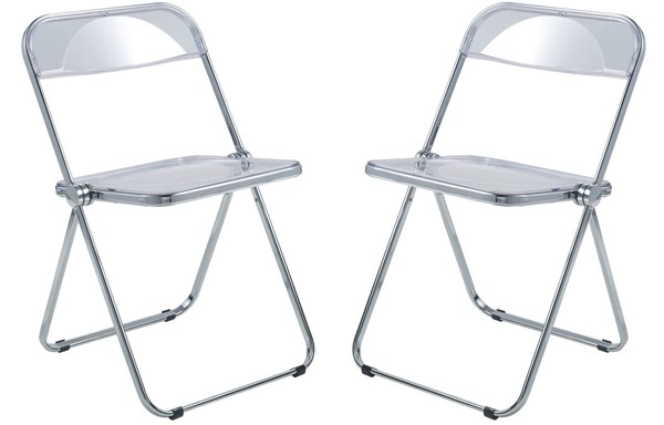 2 LeisureMod Lawrence Clear Folding Chairs With Metal Frame LSM-LF19CL2