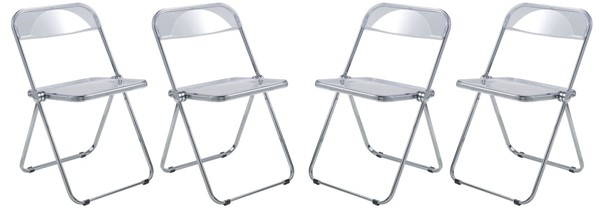 4 LeisureMod Lawrence Clear Folding Chairs With Metal Frame LSM-LF19CL4
