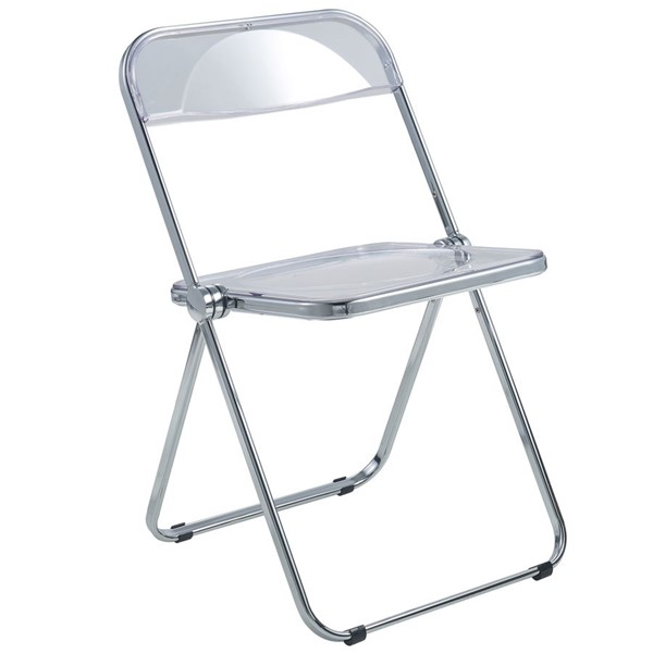 LeisureMod Lawrence Clear Folding Chair With Metal Frame LSM-LF19CL