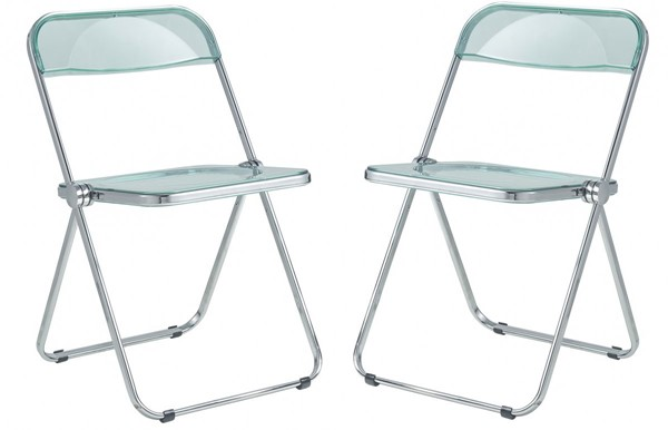 2 LeisureMod Lawrence Jade Green Folding Chairs With Metal Frame LSM-LF19G2