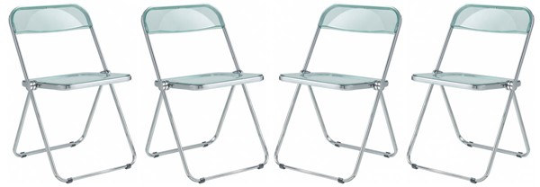 4 LeisureMod Lawrence Jade Green Folding Chairs With Metal Frame LSM-LF19G4