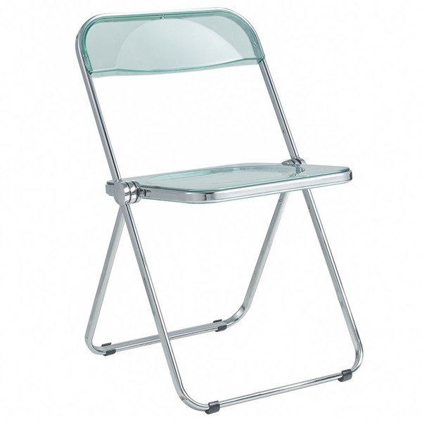 LeisureMod Lawrence Jade Green Folding Chair With Metal Frame LSM-LF19G