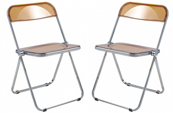 2 LeisureMod Lawrence Tangerine Folding Chairs With Metal Frame LSM-LF19OR2