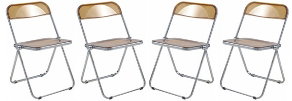 4 LeisureMod Lawrence Tangerine Folding Chairs With Metal Frame LSM-LF19OR4