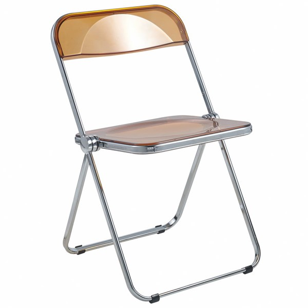 LeisureMod Lawrence Tangerine Folding Chair With Metal Frame LSM-LF19OR