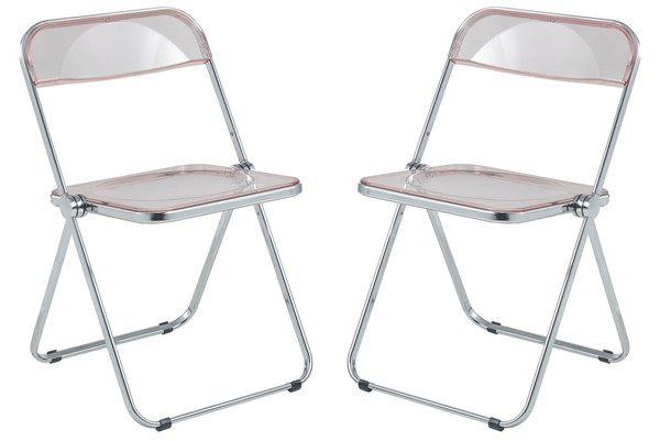 2 LeisureMod Lawrence Rose Pink Folding Chairs With Metal Frame LSM-LF19PK2