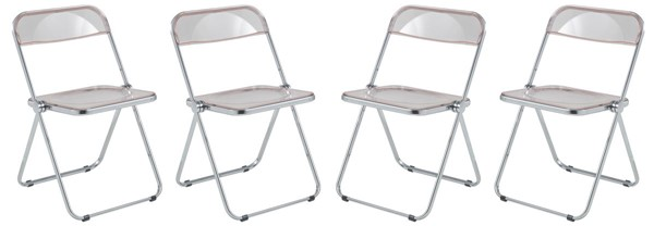 4 LeisureMod Lawrence Rose Pink Folding Chairs With Metal Frame LSM-LF19PK4