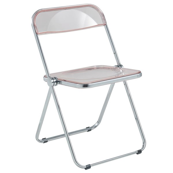 LeisureMod Lawrence Rose Pink Folding Chair With Metal Frame LSM-LF19PK