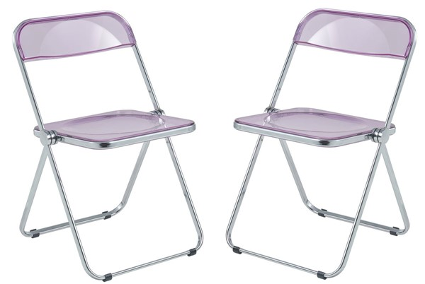 2 LeisureMod Lawrence Magenta Folding Chairs With Metal Frame LSM-LF19PU2