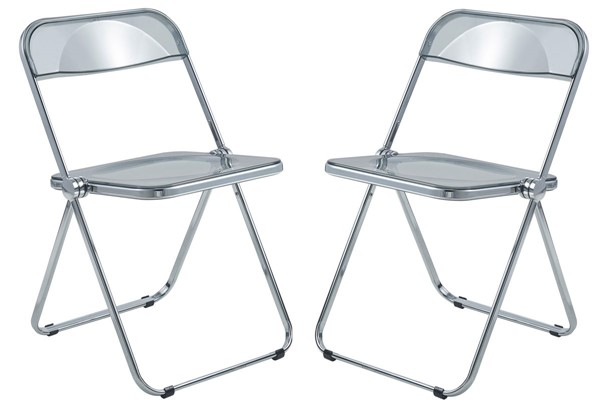 2 LeisureMod Lawrence Transparent Black Folding Chairs With Metal Frame LSM-LF19TBL2