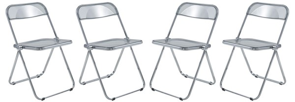 4 LeisureMod Lawrence Transparent Black Folding Chairs With Metal Frame LSM-LF19TBL4
