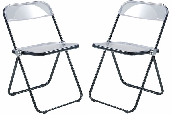 2 LeisureMod Lawrence Black Folding Chairs With Metal Frame LSM-LFCL19BL2