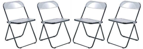 4 LeisureMod Lawrence Black Folding Chairs With Metal Frame LSM-LFCL19BL4