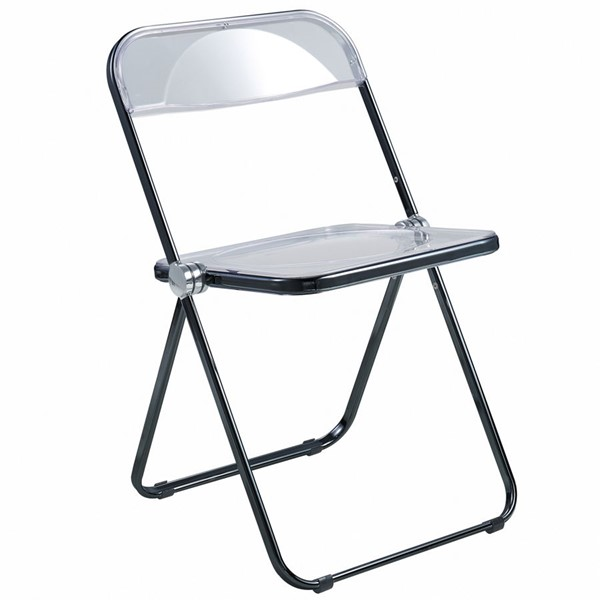 LeisureMod Lawrence Black Folding Chair With Metal Frame LSM-LFCL19BL