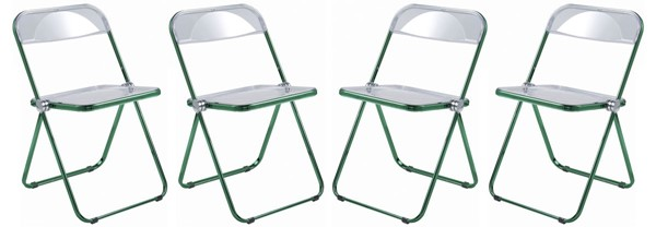 4 LeisureMod Lawrence Green Folding Chairs With Metal Frame LSM-LFCL19G4