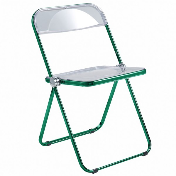 LeisureMod Lawrence Green Folding Chair With Metal Frame LSM-LFCL19G