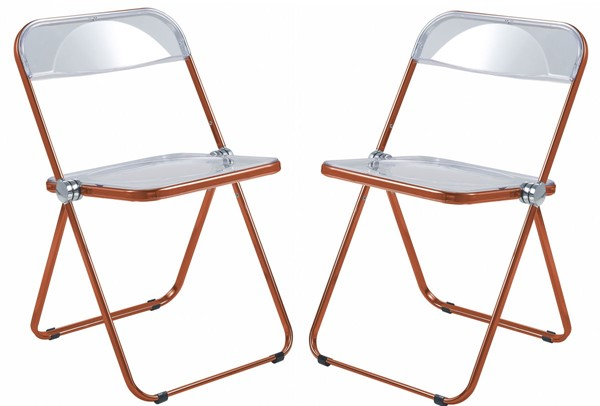 2 LeisureMod Lawrence Orange Folding Chairs With Metal Frame LSM-LFCL19OR2