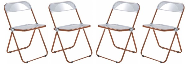 4 LeisureMod Lawrence Orange Folding Chairs With Metal Frame LSM-LFCL19OR4
