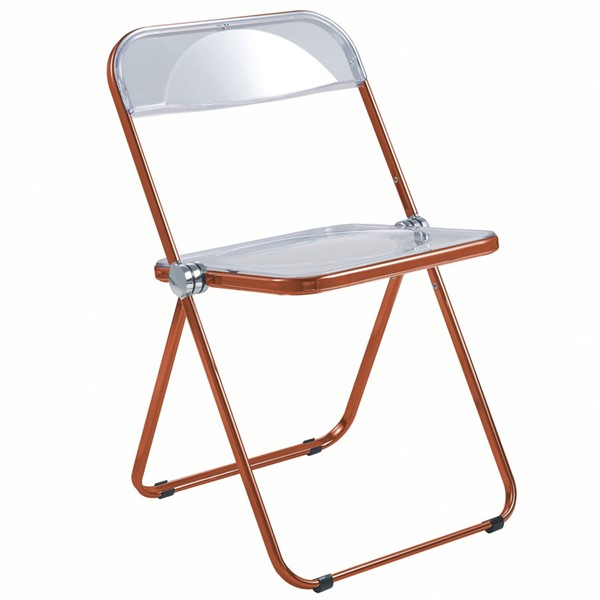 LeisureMod Lawrence Orange Folding Chair With Metal Frame LSM-LFCL19OR