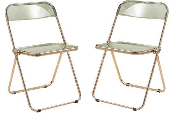 2 LeisureMod Lawrence Amber Folding Chairs With Gold Frame LSM-LFG19A2
