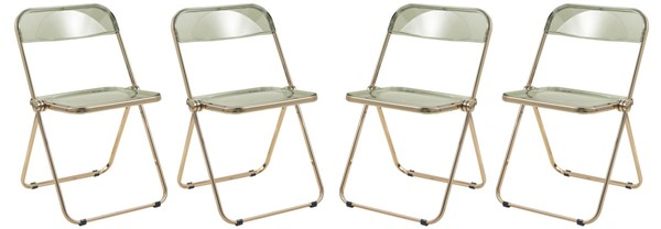 4 LeisureMod Lawrence Amber Folding Chairs With Gold Frame LSM-LFG19A4