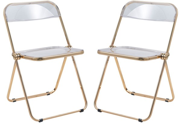 2 LeisureMod Lawrence Clear Folding Chairs With Gold Frame LSM-LFG19CL2