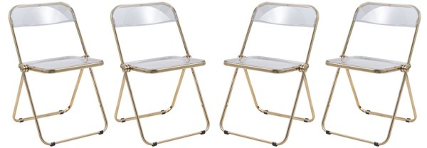 4 LeisureMod Lawrence Clear Folding Chairs With Gold Frame LSM-LFG19CL4
