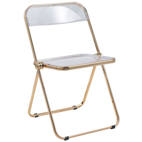 LeisureMod Lawrence Clear Folding Chair With Gold Frame LSM-LFG19CL