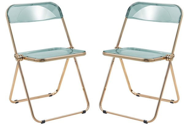2 LeisureMod Lawrence Jade Green Folding Chairs With Gold Frame LSM-LFG19G2