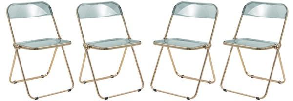 4 LeisureMod Lawrence Jade Green Folding Chairs With Gold Frame LSM-LFG19G4