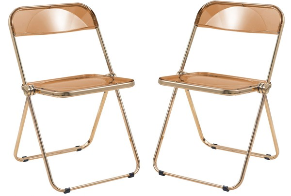 2 LeisureMod Lawrence Tangerine Folding Chairs With Gold Frame LSM-LFG19OR2