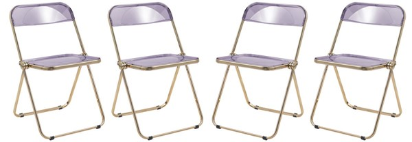 4 LeisureMod Lawrence Magenta Folding Chairs With Gold Frame LSM-LFG19PU4