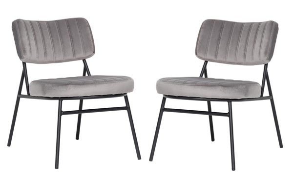 2 LeisureMod Marilane Fossil Grey Velvet Accent Chairs With Metal Frame LSM-MA29GR2
