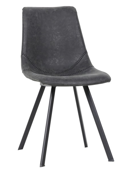 LeisureMod Markley Charcoal Black Leather Dining Chair LSM-MC18BL
