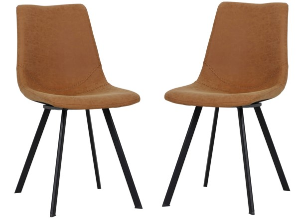 2 LeisureMod Markley Light Brown Leather Dining Chairs LSM-MC18BR2