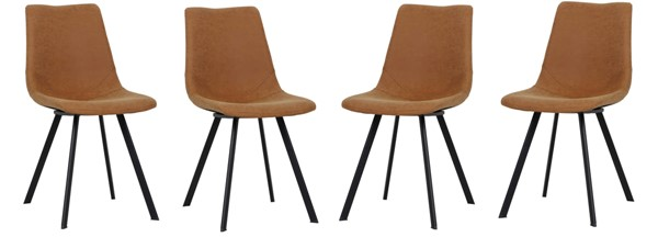 4 LeisureMod Markley Light Brown Leather Dining Chairs LSM-MC18BR4