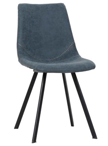 LeisureMod Markley Peacock Blue Leather Dining Chair LSM-MC18BU