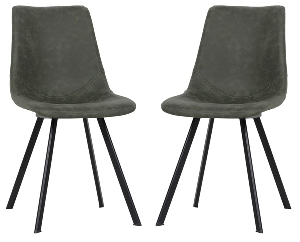 2 LeisureMod Markley Olive Green Leather Dining Chairs LSM-MC18G2
