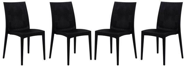 4 LeisureMod Weave Black Mace Indoor Outdoor Armless Dining Chairs LSM-MC19BL4