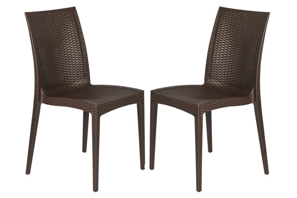 Design Edge Henty 2  Brown Mace Indoor Outdoor Armless Dining Chairs DE-22371029