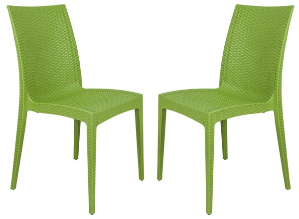 Design Edge Henty 2  Lime Green Mace Indoor Outdoor Armless Dining Chairs DE-22371039