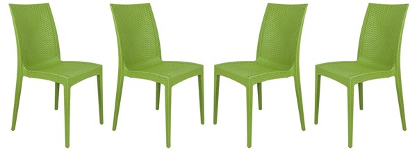 4 LeisureMod Weave Lime Green Mace Indoor Outdoor Armless Dining Chairs LSM-MC19G4
