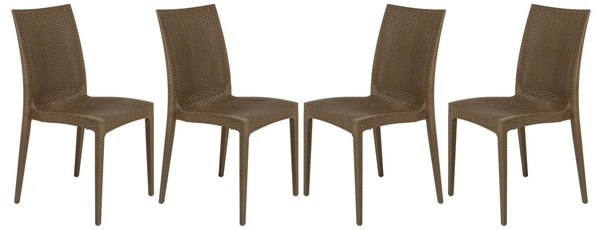 4 LeisureMod Weave Light Brown Mace Indoor Outdoor Armless Dining Chairs LSM-MC19LBR4