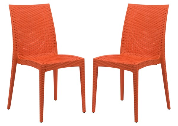 Design Edge Henty 2  Orange Mace Indoor Outdoor Armless Dining Chairs DE-22371059